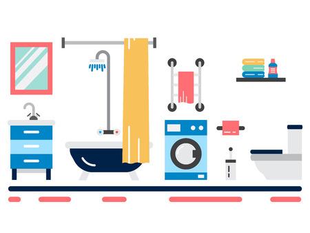shower curtain: Elements for bathroom interior. Bathroom interior vector. Illustration