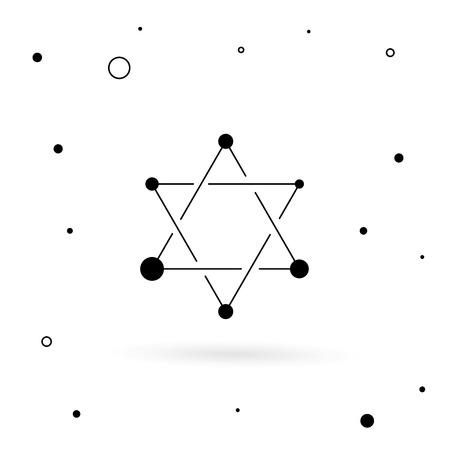 holocaust: The symbols of Israel the star of David and menorah. Vector image done in a linear style Illustration