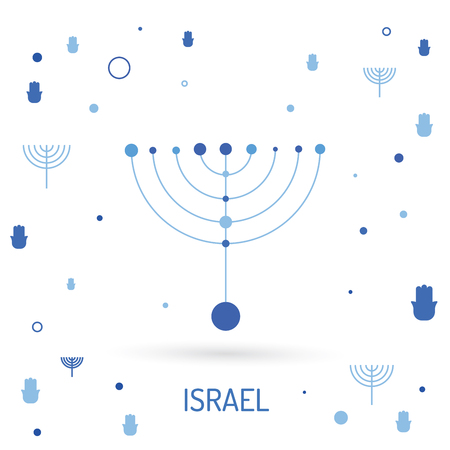 jewry: The symbols of Israel the star of David and menorah. Vector image done in a linear style Illustration