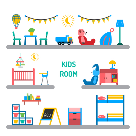 playroom: Set of elements for a child room. The interior of the nursery for games. Children room vector. Illustration