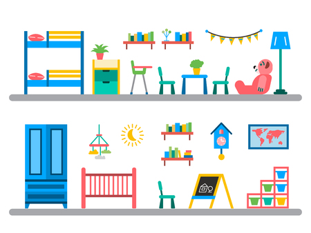 child room: Set of elements for a child room. The interior of the nursery for games. Children room vector. Illustration