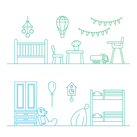 playroom: Set of elements for a childrens room. The interior of the nursery for games. Childrens room vector.