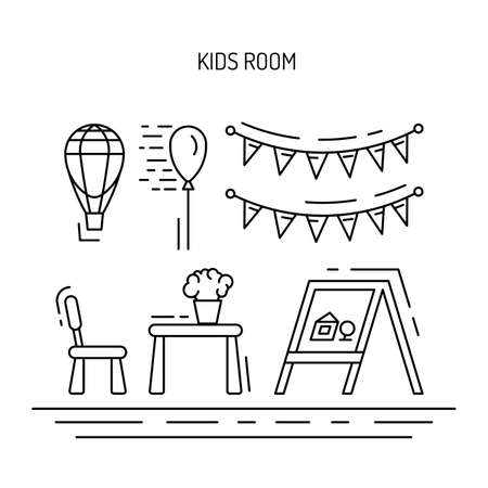 baby toys: Set of elements for a childrens room. The interior of the nursery for games. Childrens room vector.