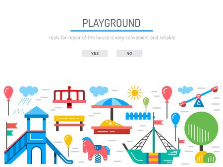 banc de parc: Aire de jeux pour enfants avec balançoires. Un endroit pour les enfants jouent dans la cour. Aire de jeux pour enfants dessiné dans un style linéaire, vecteur, contour.