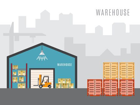 outdoor goods: The warehouse work with loading and unloading of cargo. Warehouse complex style flat, linear, outline. Forklift works in a warehouse.