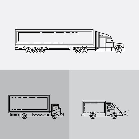 transport of goods: Transportation of goods, shipping, freight transport. Transport of containers on trucks. A set of trucks