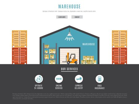 unloading: The warehouse work with loading and unloading of cargo. Warehouse complex style linear, outline. Forklift works in a warehouse.