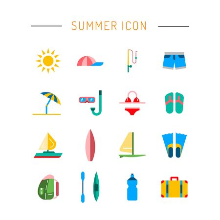 sail fin: Icons set for summer holiday and travel. Elements on the theme of summer, travel, trekking, vacation, weekend beach vacation.