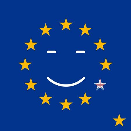 overtake: Silky Flag of Blue European Union. British exit vector illustration. Drop down the star from the circle of the European Union.
