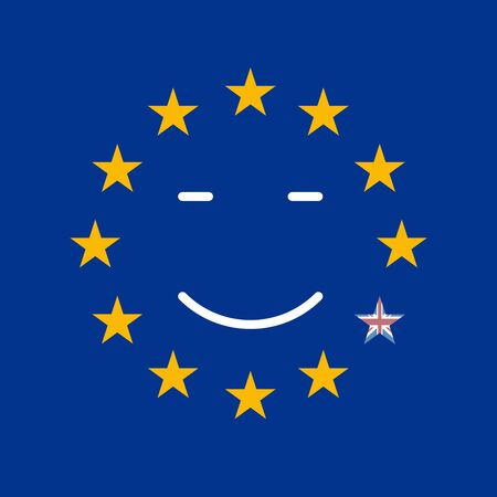 drop down: Silky Flag of Blue European Union. British exit vector illustration. Drop down the star from the circle of the European Union.