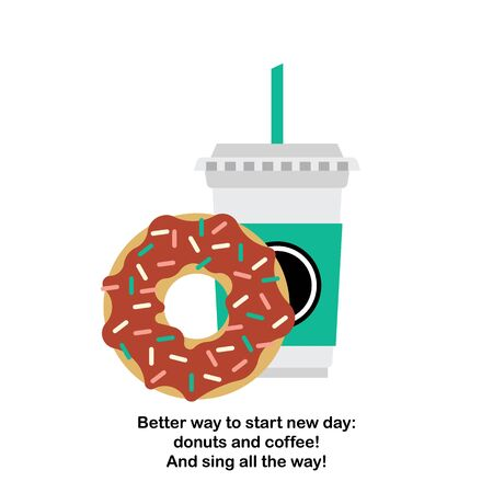 coffeecup: Vector donut and coffee. Vector template coffee-cup with donut. Vector cartoon coffee and donut. Illustration