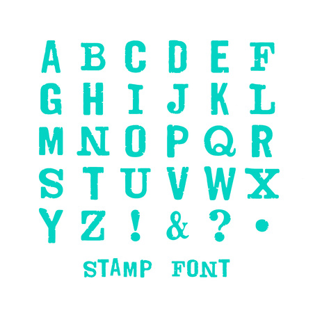 latin alphabet: Vector latin alphabet. Vector isolated font on white background. Modern print letters with stamp texture.  Vector stamp font.