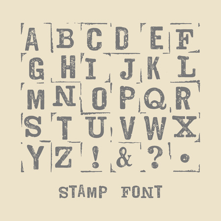 grange: Vector latin alphabet. Vector font with grange texture. Vector isolated font on white background. Modern print letters with stamp texture.  Vector stamp font. Illustration