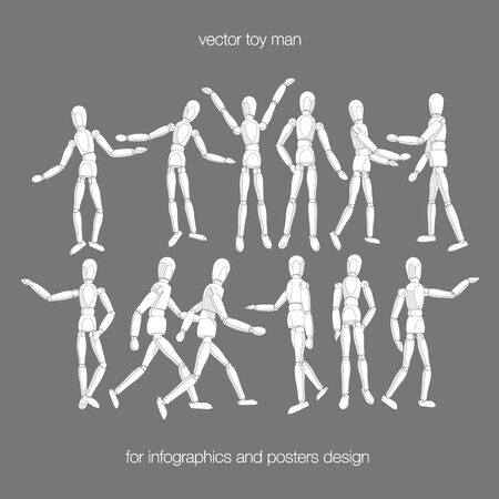 wooden toy: Vector toy man set. Constructor toy dummy man in actions. Wooden toy dummy man in different poses isolated on white background. Vector toy people for infographics. Vector dummy man. Illustration