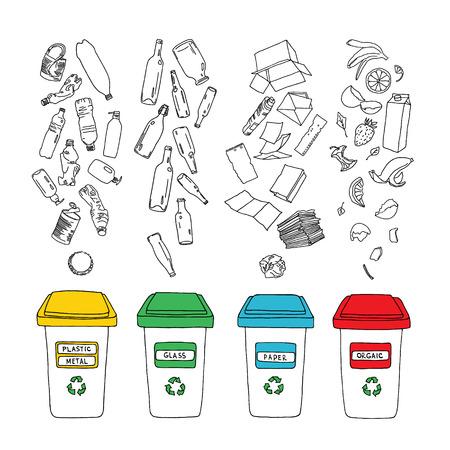 Déchets Vector tri défini. Main recyclage dessiné infographique avec poubelle à ordures et des icônes. Le tri des déchets, le traitement et le recyclage des ordures. Banque d'images - 59250730