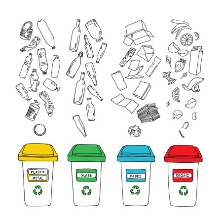 Vector waste sorting set. Hand drawn recycle infographic with trash bin and garbage icons. Waste sorting, processing and recycling of garbage.