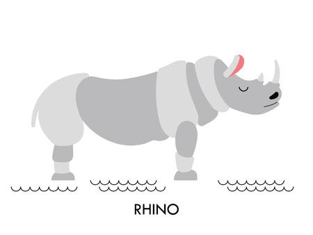 amazon rainforest: Cartoon african animal. Vector cartoon african Rhino made in flat style. Isolated wild african Rhino. Cartoon wild african animal background.