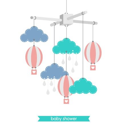 Newborn card. Illustration of baby mobile: clouds, and balloons. Isolated baby mobile baby shower. Vector baby mobile.