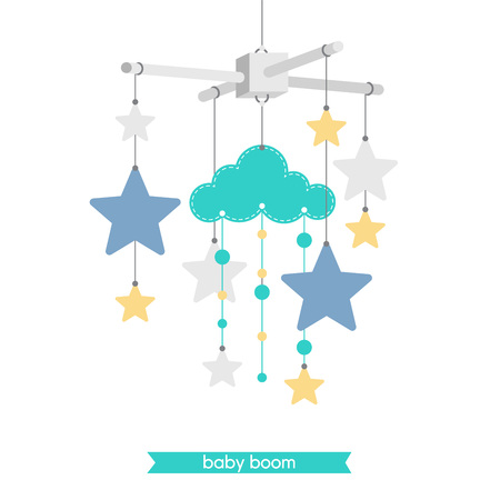 Newborn card. Illustration of baby mobile: stars and cloud. Isolated baby mobile for baby shower. Vector baby mobile.