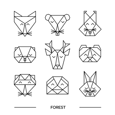 head shape: Origami vector animals set. Animal triangle heads. Vector origami animals. Geometric line design icon set. Vector origami animals for tattoo or coloring book. Vector origami forest animals collection. Illustration