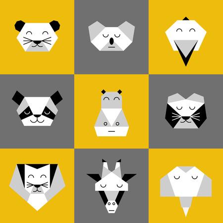 Stylized vector animals. Animal triangle heads. Vector origami animals. Geometric line design icon set. Vector origami animals for tattoo or coloring book. Vector origami jungle animals collection.