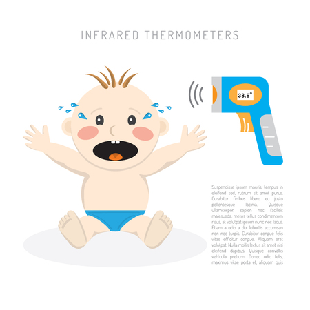 detection: Temperature measurement of a small child vector illustration, rapid detection of high temperature in a child with an infrared thermometer during an illness