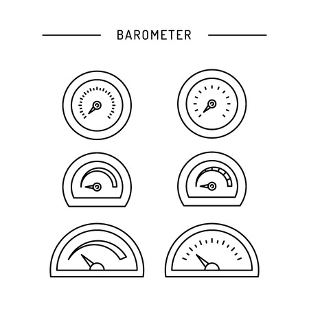 body temperature: Image thermometer icons are drawn in a linear style, a device for measuring temperature. Various types of electronic thermometers. infrared, liquid, measuring body temperature, food, environment.