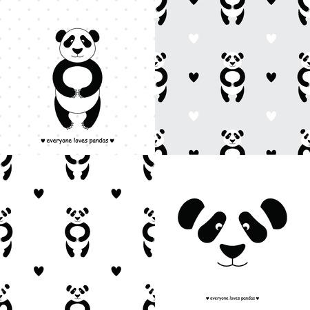 Panda-Bär gesetzt. Vector flach Panda. Nette Karikatur Panda. Cartoon Panda Vektor. Panda Baby. Entzückender Pandabär. Panda tragen nahtlose Muster. Chinesischer Panda Bär.