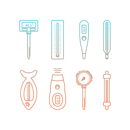 mercury staff: Image thermometer icons are drawn in a linear style, a device for measuring temperature. Various types of electronic thermometers. infrared, liquid, measuring body temperature, food, environment.