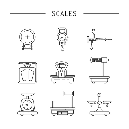 Set of scales for weighing things, products, people, painted in the technique outline. Linear icons of scales. 免版税图像 - 59930450