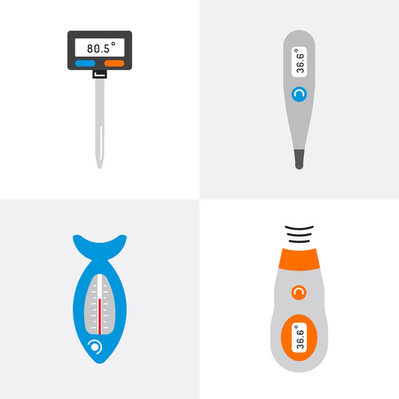 Image thermometer icons are drawn in a linear style, a device for measuring temperature. Various types of electronic thermometers. infrared, liquid, measuring body temperature, food, environment.