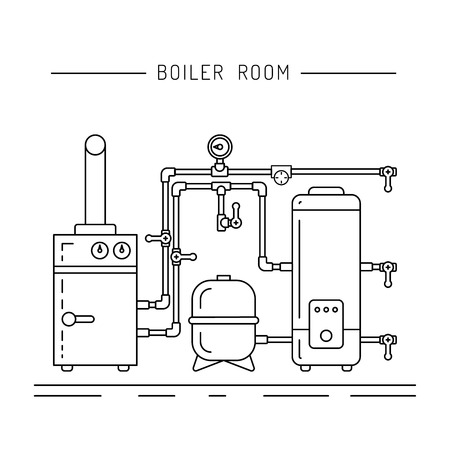 water heater: The set of items of equipment for boiler rooms and heating in the cold season. Heating boiler, Bolek, water heater, heat accumulators, battery painted in the style outline, linear Illustration