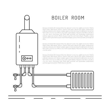 De set van items van apparatuur voor ketelruimen en verwarming in het koude seizoen. Verwarmingsketel Bolek, boiler, warmte accumulatoren, geschilderd in de stijl overzicht, lineaire