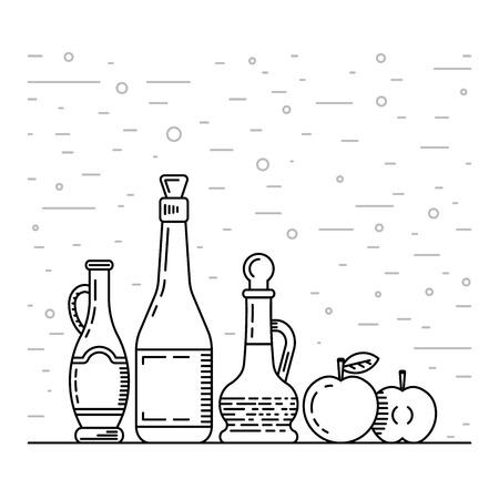 apple cinnamon: Apple cider vinegar in the bottle vector, outline. A set of glass bottles decanters with Apple cider vinegar, spice for cooking. The fruit of the Apple which is Apple cider vinegar.