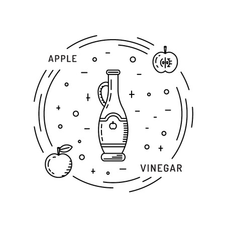 cruet: Apple cider vinegar in the bottle vector, outline. A set of glass bottles decanters with Apple cider vinegar, spice for cooking. The fruit of the Apple which is Apple cider vinegar.