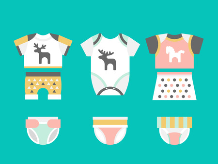 bodysuit: Vector baby clothes. Baby t-shirt, shorts, panties, diapers bodysuit flat template isolated on white background. Vector newborn apparel.