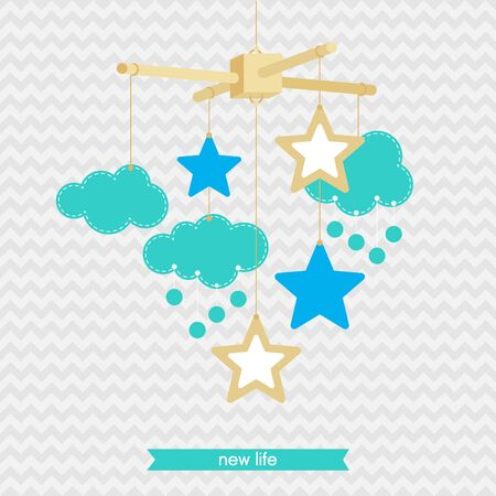 Baby Shower Invitation Template Illustration Of Baby Mobile
