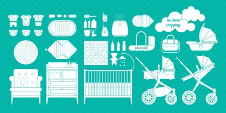 stuff toys: Retail and wholesale kids store. Cribs, baby stroller, childrens clothing, toys and other baby stuff for a newborn. Vector kids store set in flat style. Illustration