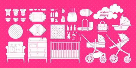 Lista De Cosas Para Bebes Recien Nacidos.Los Iconos De Los Productos Para Los Recien Nacidos Cunas