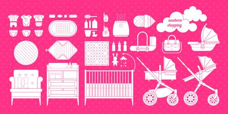 baby stuff: Retail and wholesale kids store. Cribs, baby stroller, childrens clothing, toys and other baby stuff for a newborn. Vector kids store set in flat style. Illustration