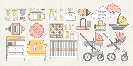 stuff toys: Vector objects for a newborn. Products for newborns. Cribs, baby stroller, childrens clothing, toys and other baby stuff for a newborn. Vector baby stuff set in flat style.