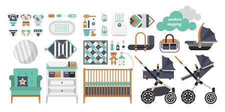 Objetos del vector para un recién nacido. Productos para recién nacidos. Cunas, cochecito de bebé, ropa de los niños, juguetes y otras cosas de bebé para un recién nacido. Vector cosas de bebé situado en estilo plano.