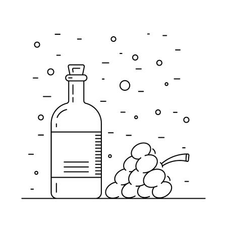 cruet: Wine vinegar in the bottle vector, outline.