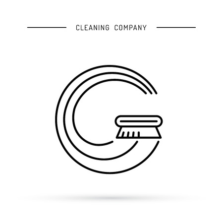 tidiness: the cleaning company is drawn in the form of Bucky With and brushes for washing.
