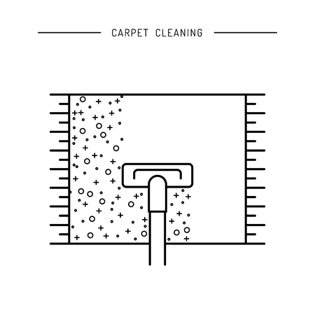 carpet cleaning service design: Cleaning of carpets with vacuum cleaner and detergents drawn in a linear fashion.