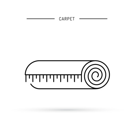 carpet cleaning service design: Linear icon of a carpet, the carpet rolled into a coil, insulated.