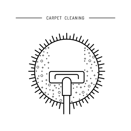 dirty carpet: Cleaning of carpets with vacuum cleaner and detergents drawn in a linear fashion.