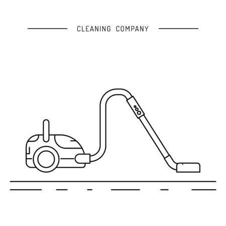 carpet cleaning service design: Cleaning of carpets with vacuum cleaner and detergents drawn in a linear fashion. Vector logo of the cleaning company, booklet, flyer