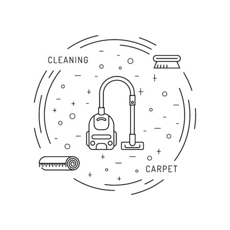 carpet cleaning service design: Cleaning of carpets with vacuum cleaner and detergents drawn in a linear fashion. Vector of the cleaning company, booklet, flyer