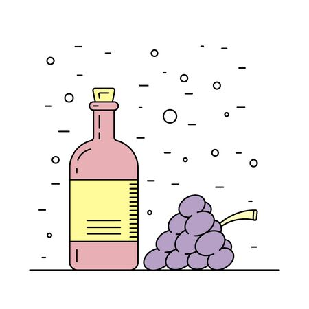 decanter: A bottle decanter made of glass, vector flat outline, for wine. Glass bottle for liquid, wine. Illustration